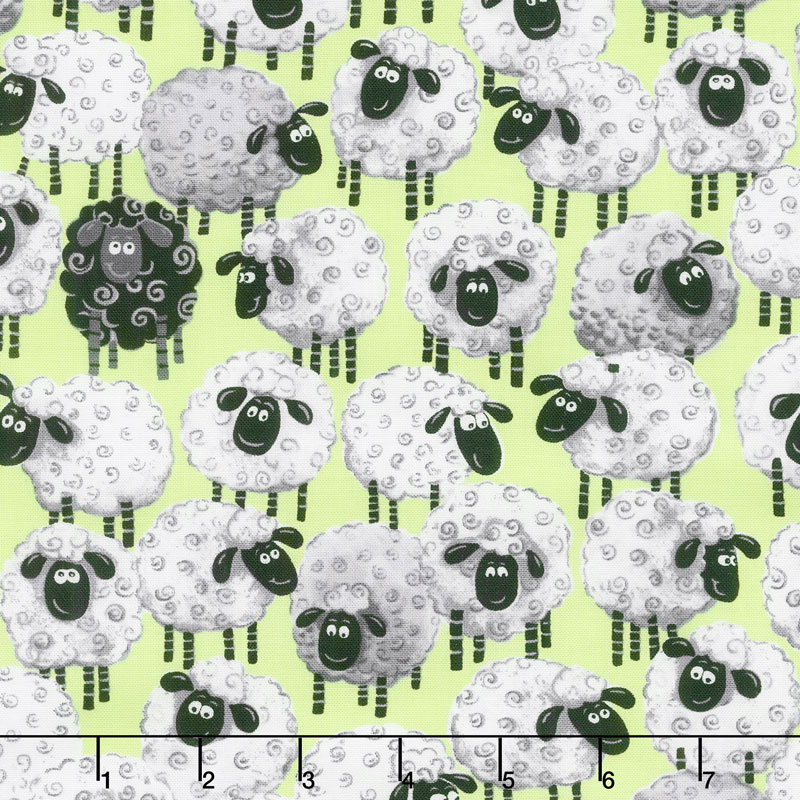 Lewe the Ewe - Sheep Allover Green Yardage