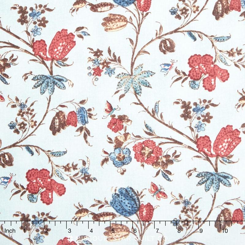 Hamilton - From Eliza Hamilton's Era c. 1770-1790 Main Floral Aqua Yardage