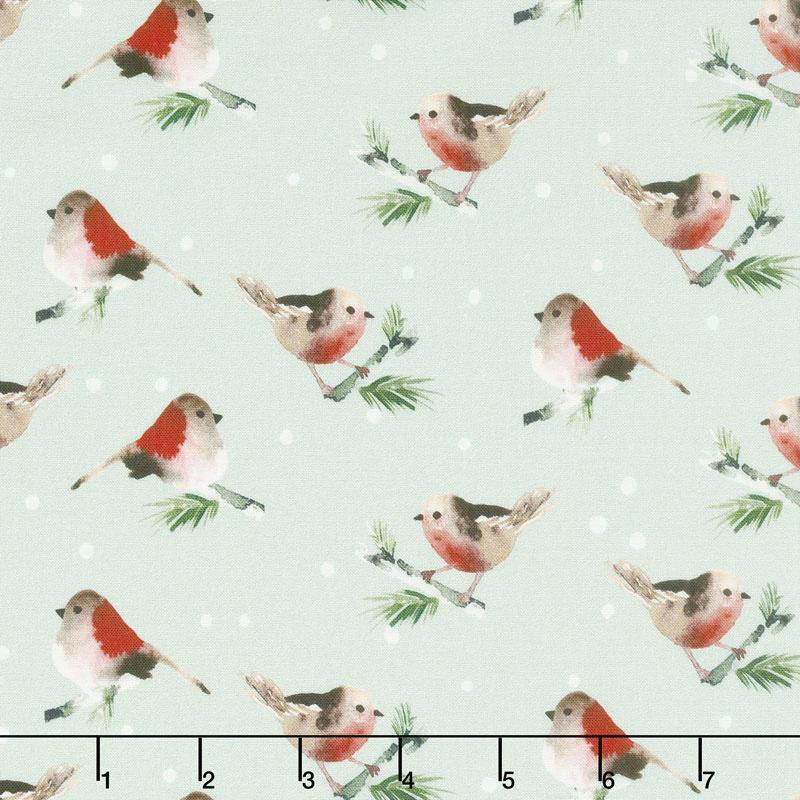 Winter Woods - Birds in Gray Yardage