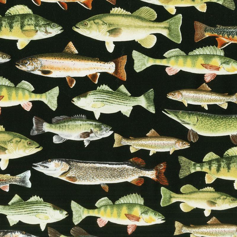 Gone Fishing - Fish Black Yardage