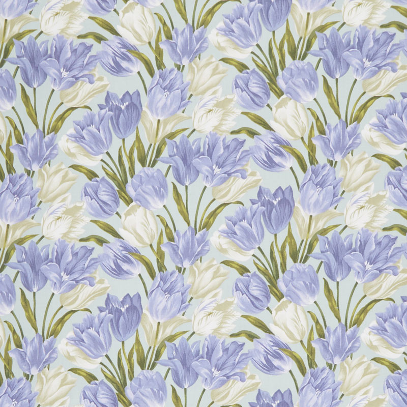 Totally Tulips - Teal Periwinkle Yardage
