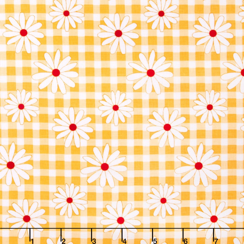 Gingham Girls - Gingham Daisy Yellow Yardage