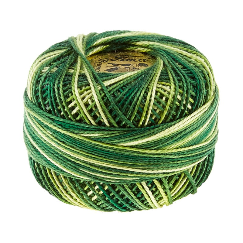 Presencia Perle Cotton Thread Size 8 Variegated Foliage Green