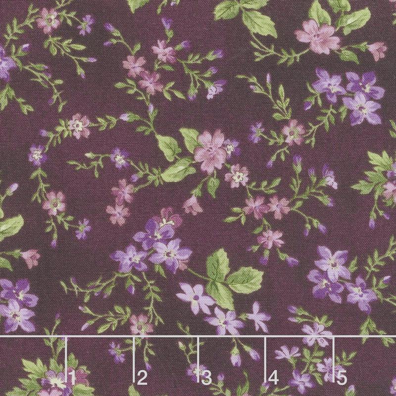 Aubergine - Trailing Flowers Deep Aubergine Yardage