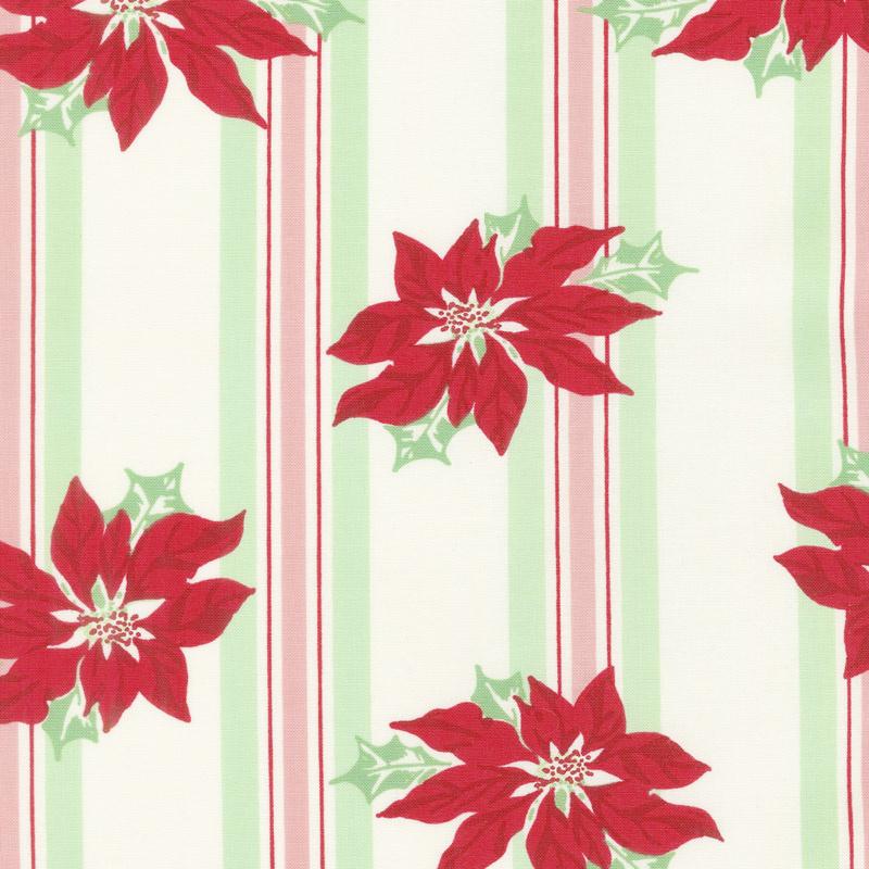 Sweet Christmas - Poinsettia Stripe Marzipan Yardage