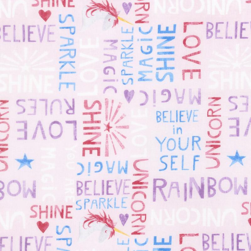 Sparkle Magic Shine - Words Allover Pink Yardage