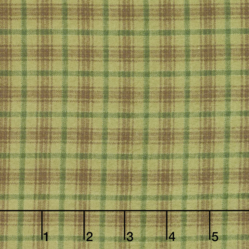 Folk Art Flannels 2 - Printed Plaid Green Yardage
