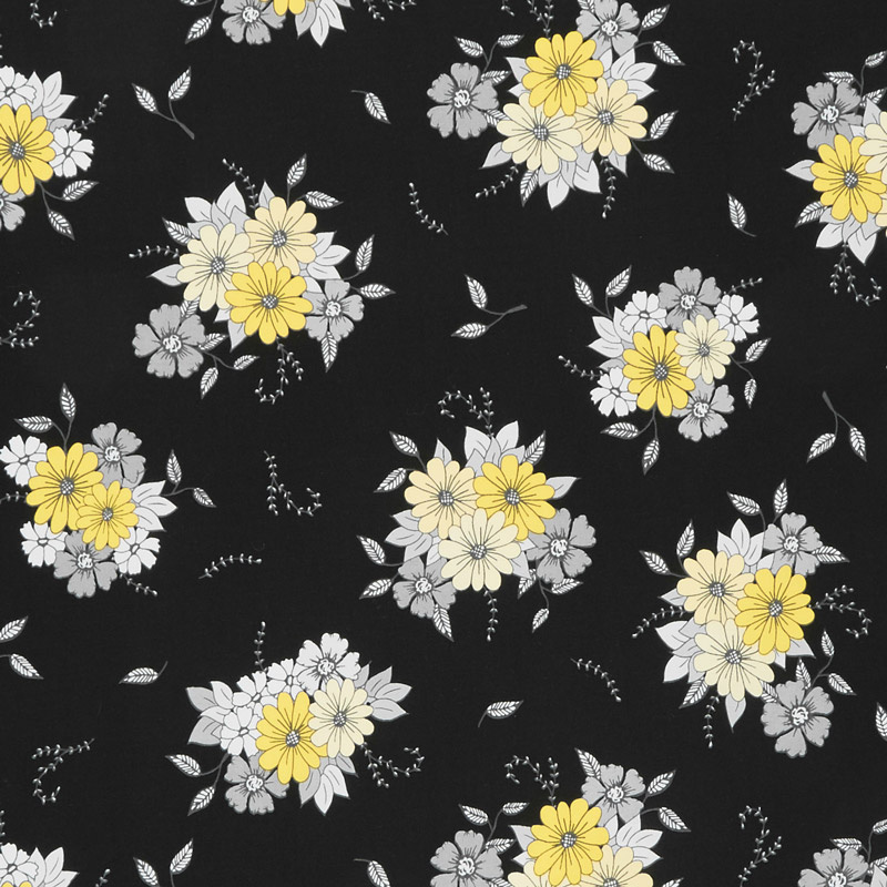 Honey Run - Floral Main Black Yardage