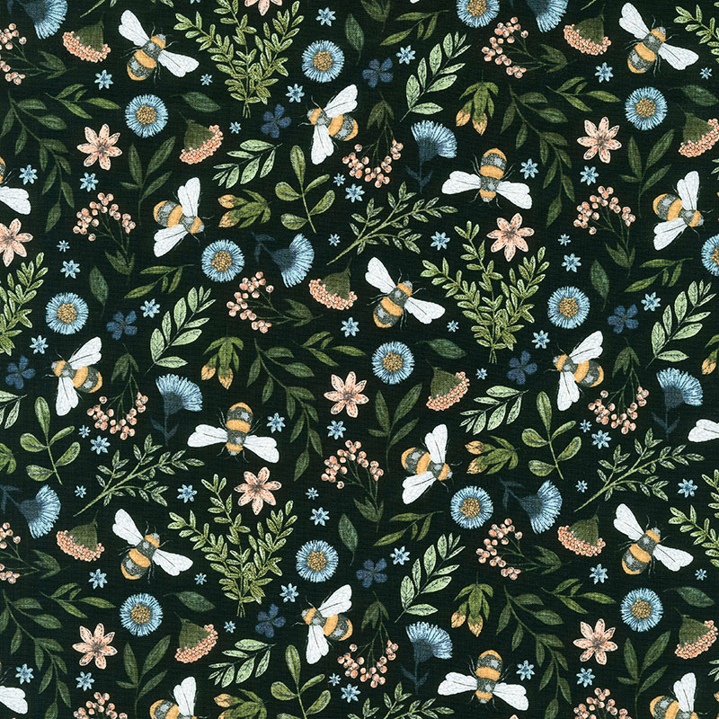 Bee Kind - Floral and Bee Toss Black Multi Yardage