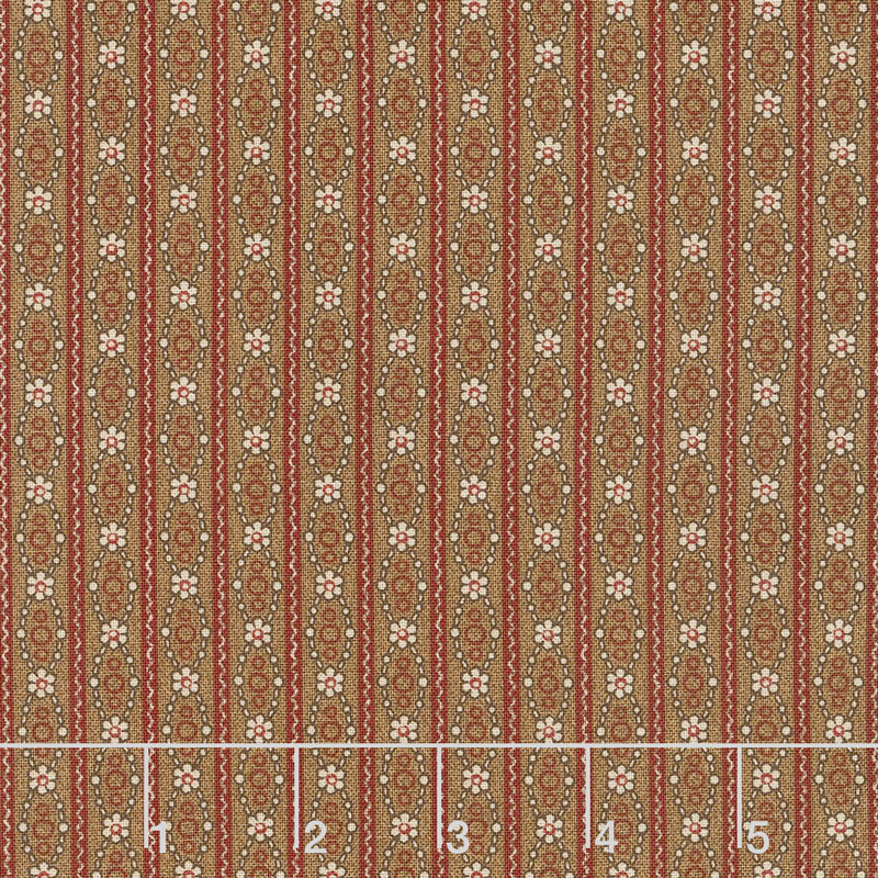 Hickory Road - Stripe Medium Brown Yardage