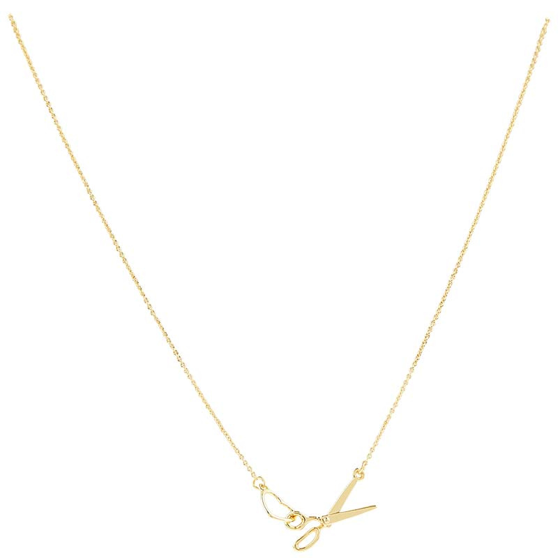 Scissor and Heart Charm Necklace - Gold