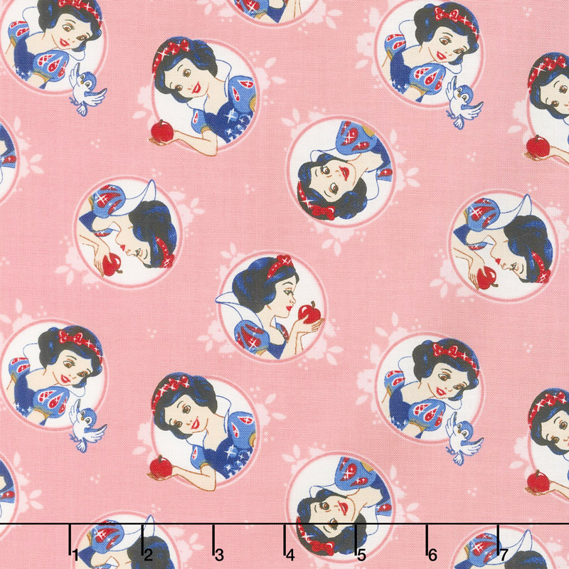Disney Forever Princess - Snow White in Circles in Light Pink Yardage