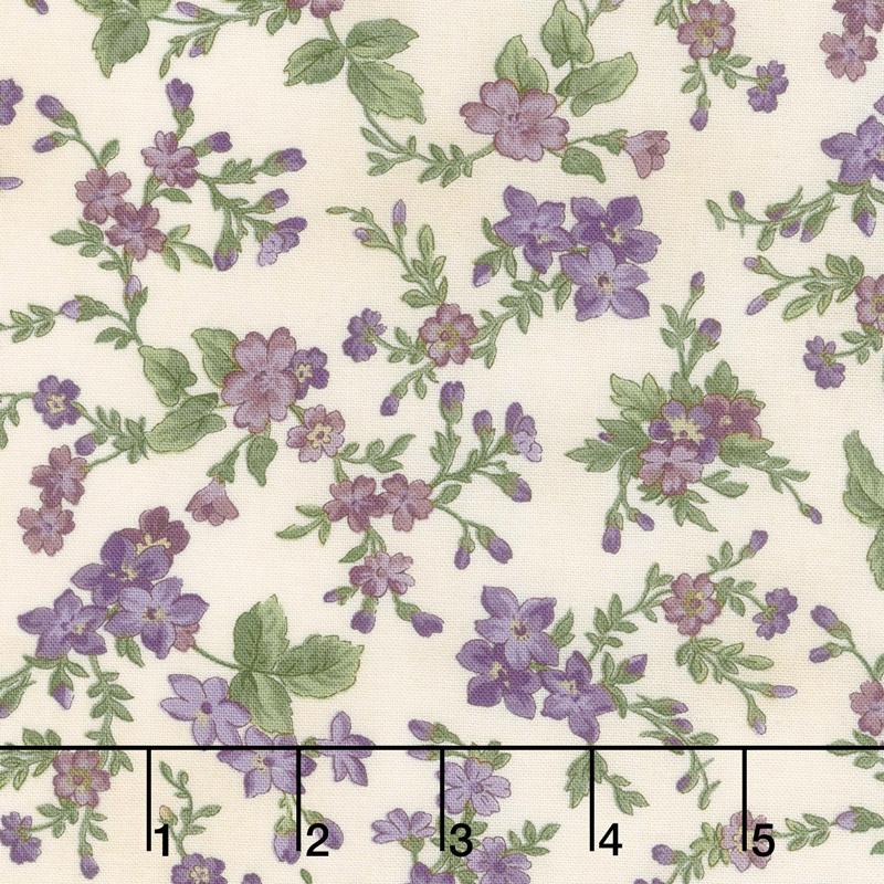 Aubergine - Trailing Flowers Ivory Yardage