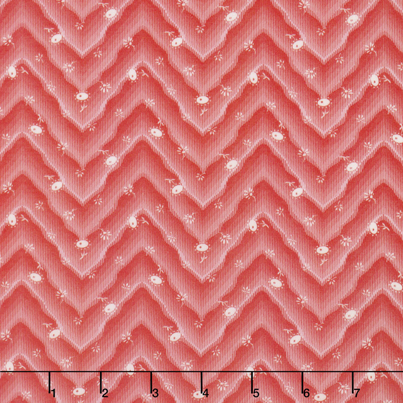 Floral Hues - Chevron Red Cotton Lawn Yardage