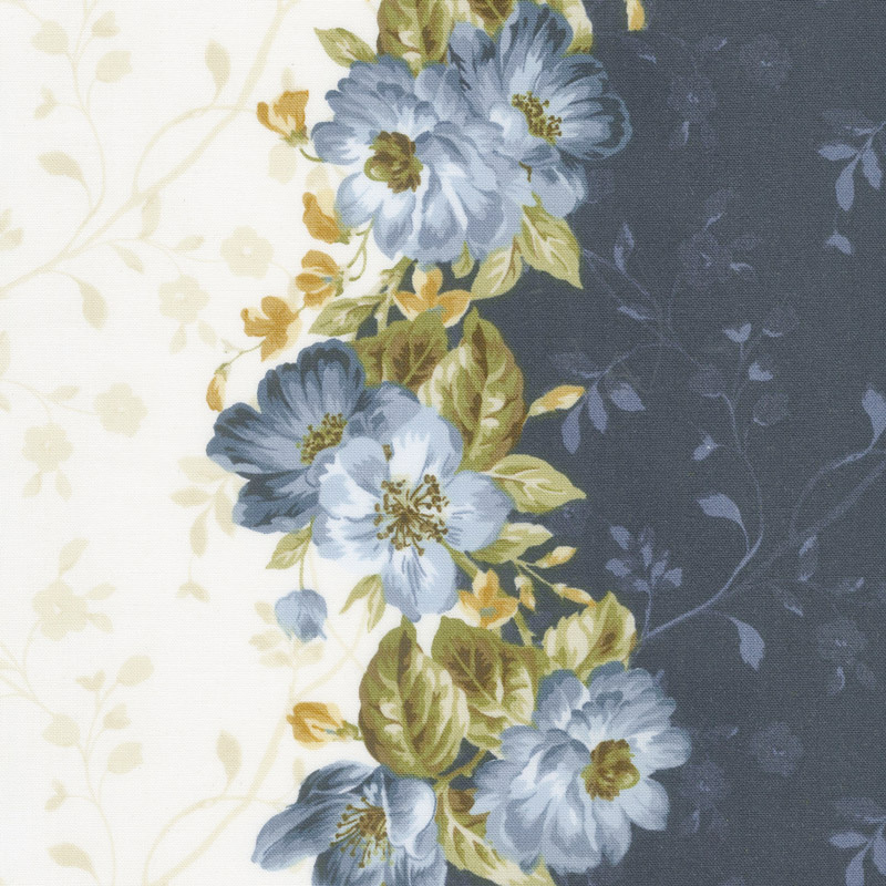 English Countryside - Floral Stripe Natural Yardage