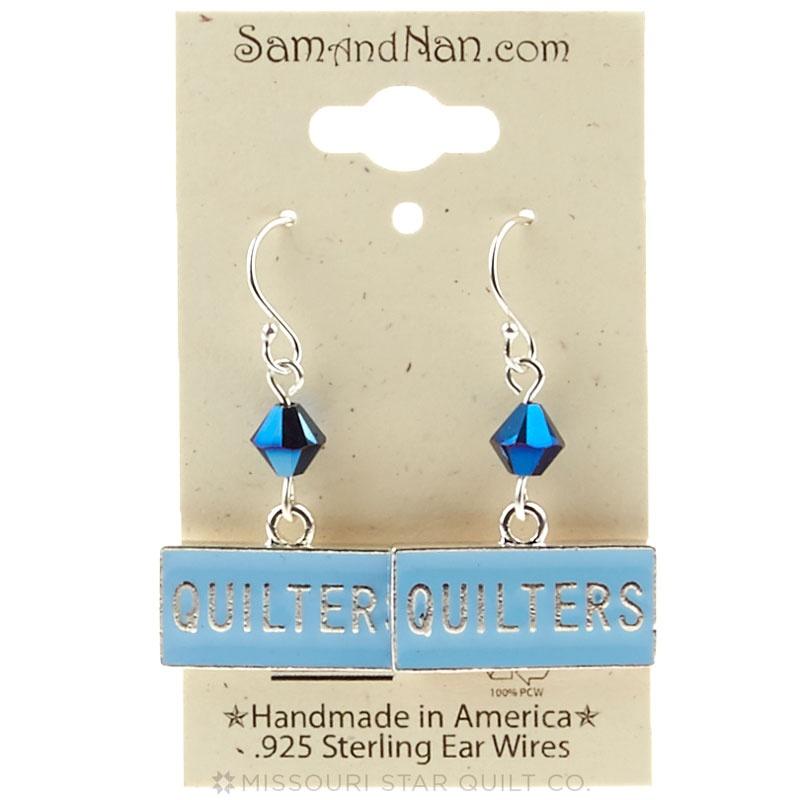 Blue Swarovski Crystal Quilters Earrings