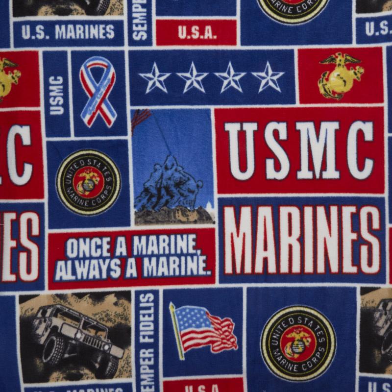 Military - Marines Collage Blue Fleece Yardage