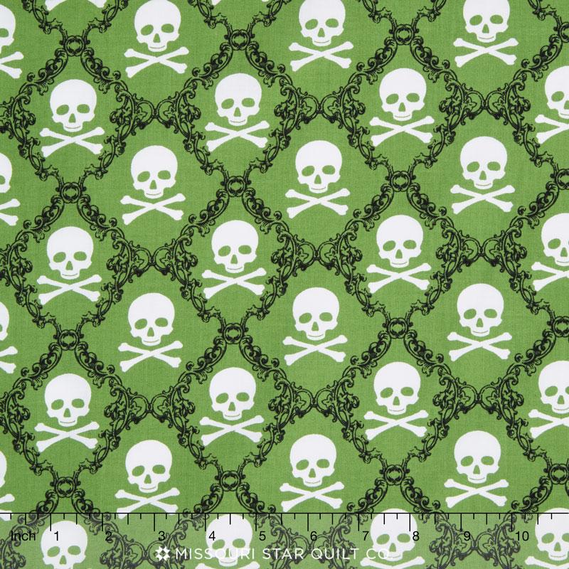 Raven - Skull and Crossbones Green Yardage