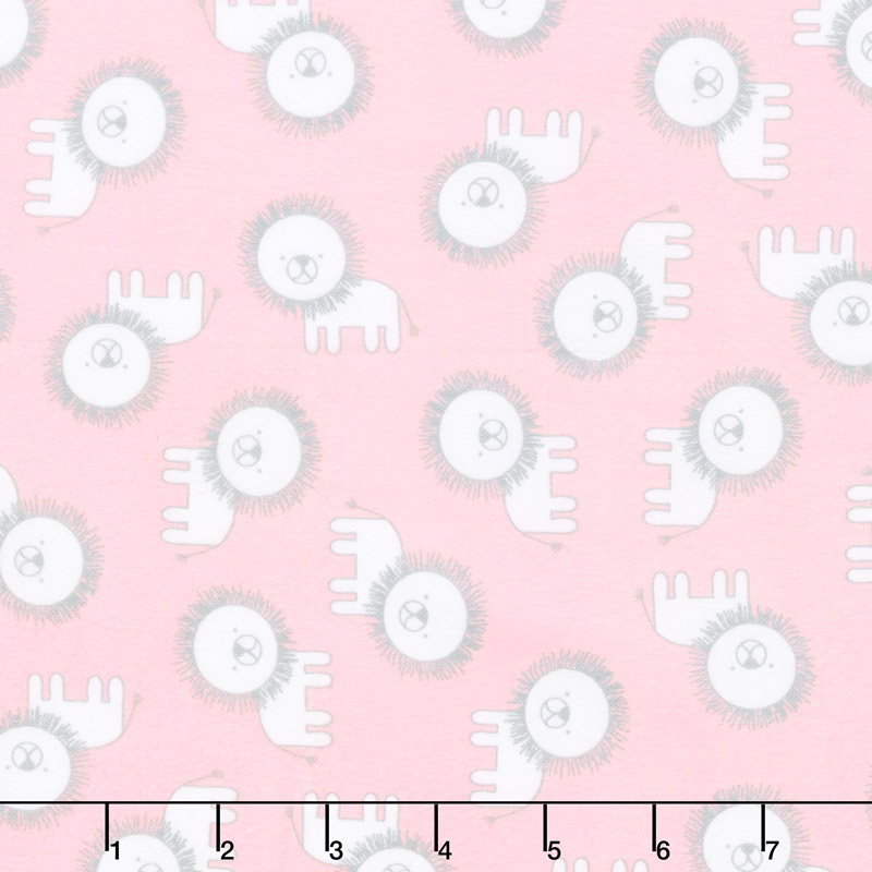 Penned Pals Flannel - Pink Colorstory Lions Baby Pink Yardage