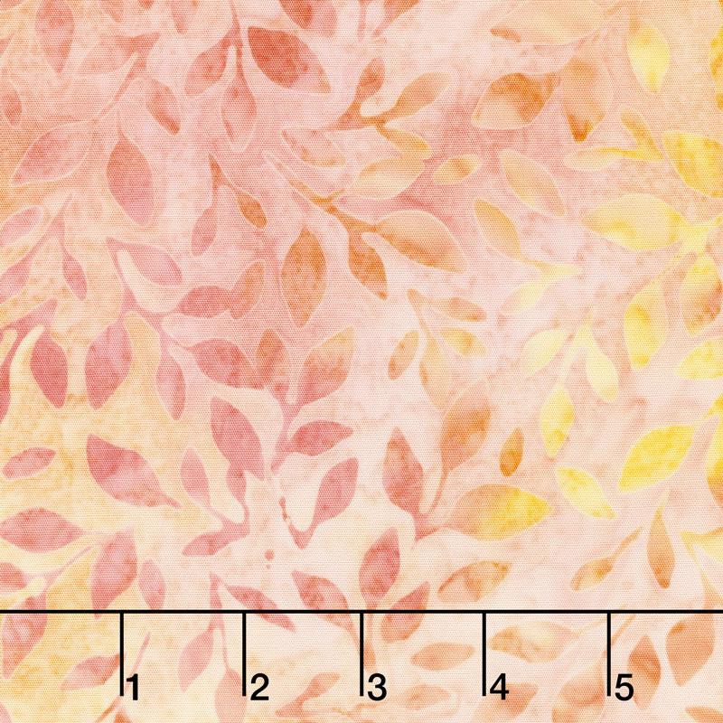 Artisan Batiks - Serendipity 3 Leaves Cantaloupe Yardage