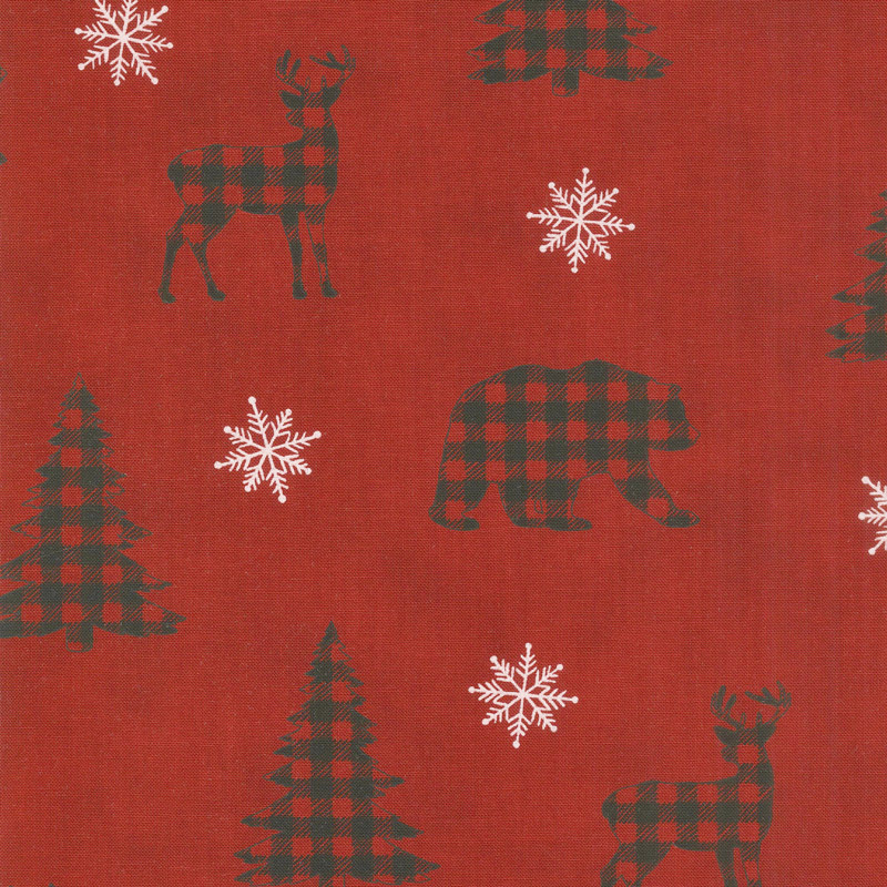 Holiday Lodge - Buffalo Plaid Forest Berry Red Yardage
