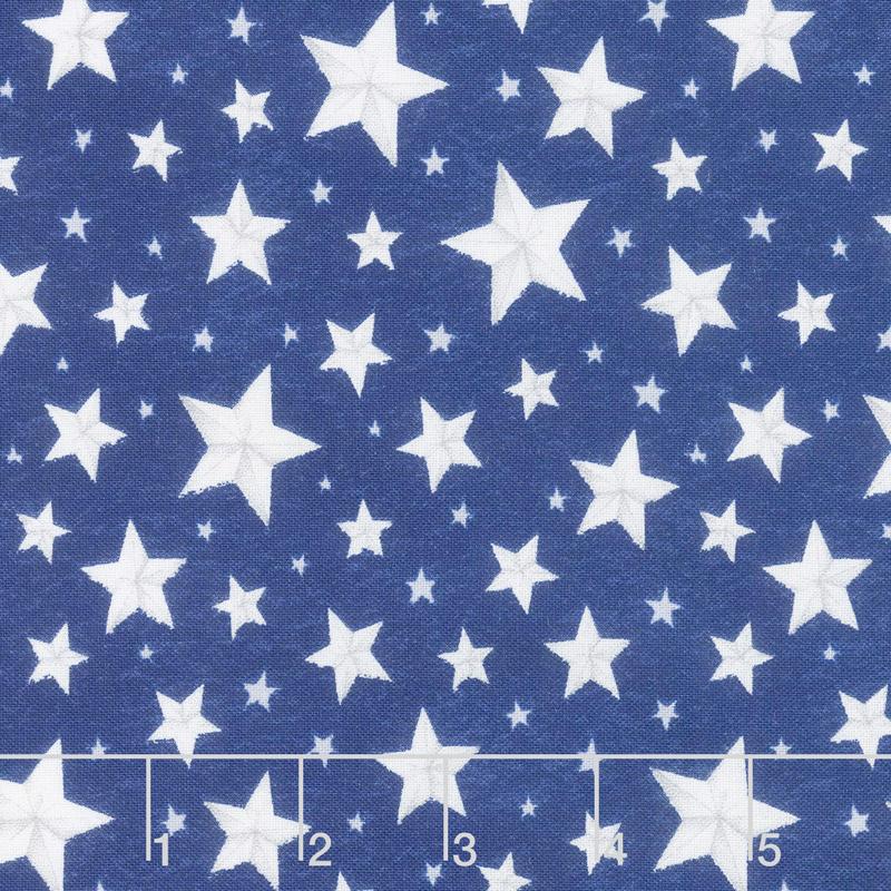 Berry Sweet - Allover Stars Blue Yardage