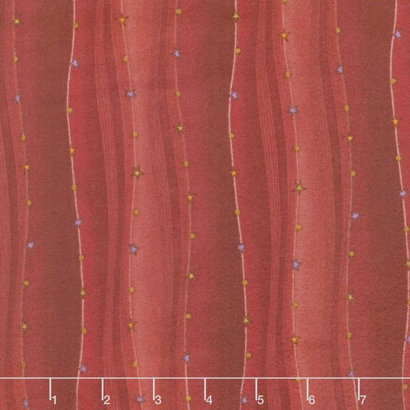Folk Art Flannels 2 - Wavy Stripe Red Yardage