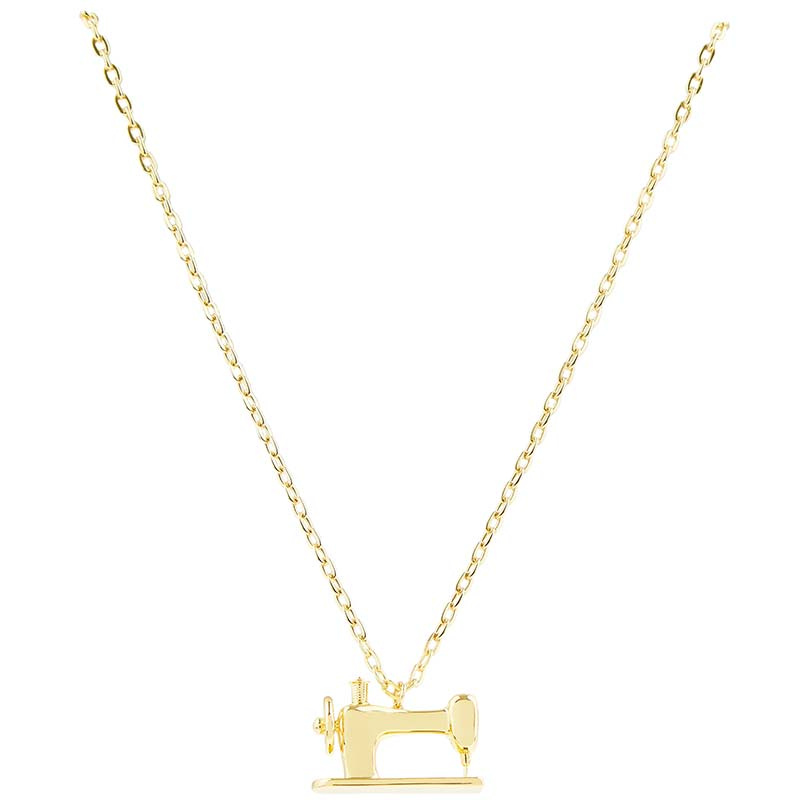 Sewing Machine Charm Pendant - Gold