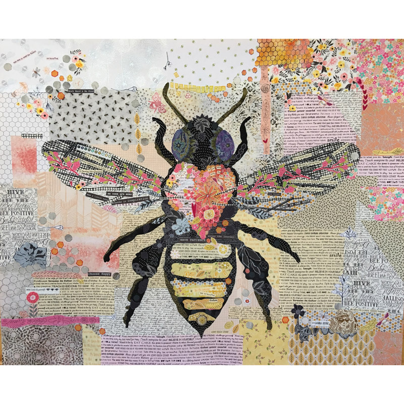 Honey Bee Collage Pattern Laura Heine Fiberworks Inc