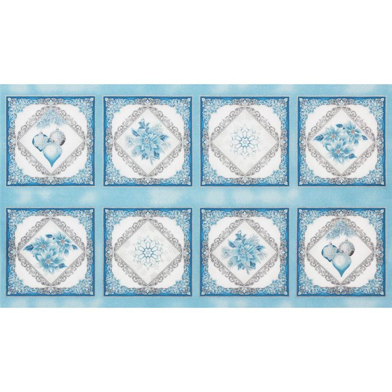 Holiday Flourish 12 - Peacock Snowflakes Blue Metallic Panel