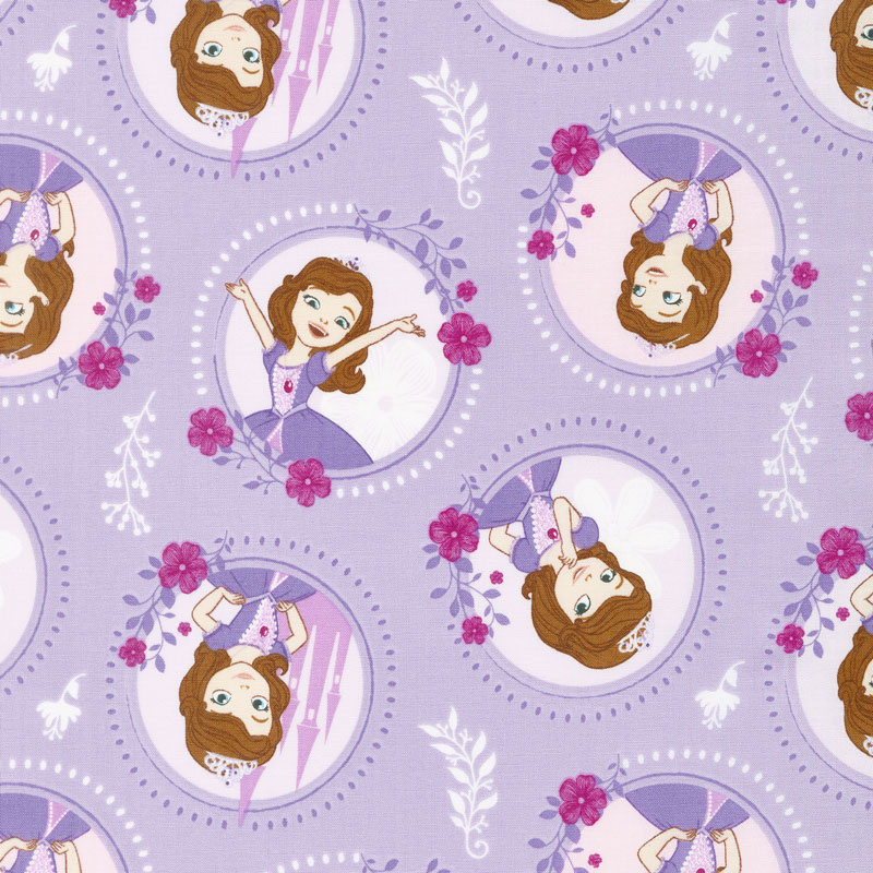 Sofia the First - Floral Frame Pastel Lavender Yardage - Camelot ...