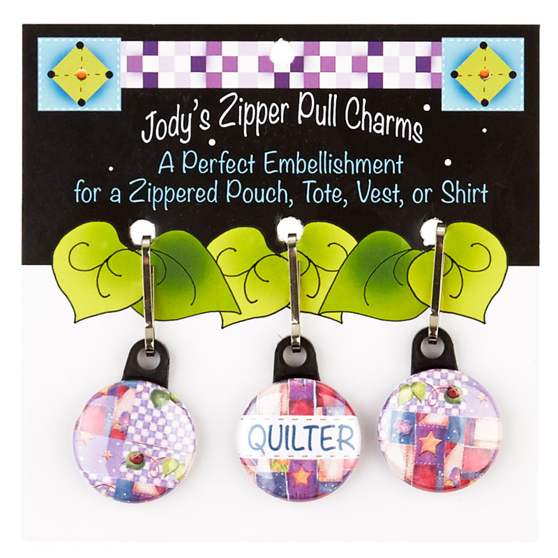 Zipper Charm Set Spools of Thread and Patchwork