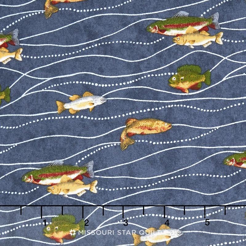 River Journey - Fishing Slate Blue Yardage