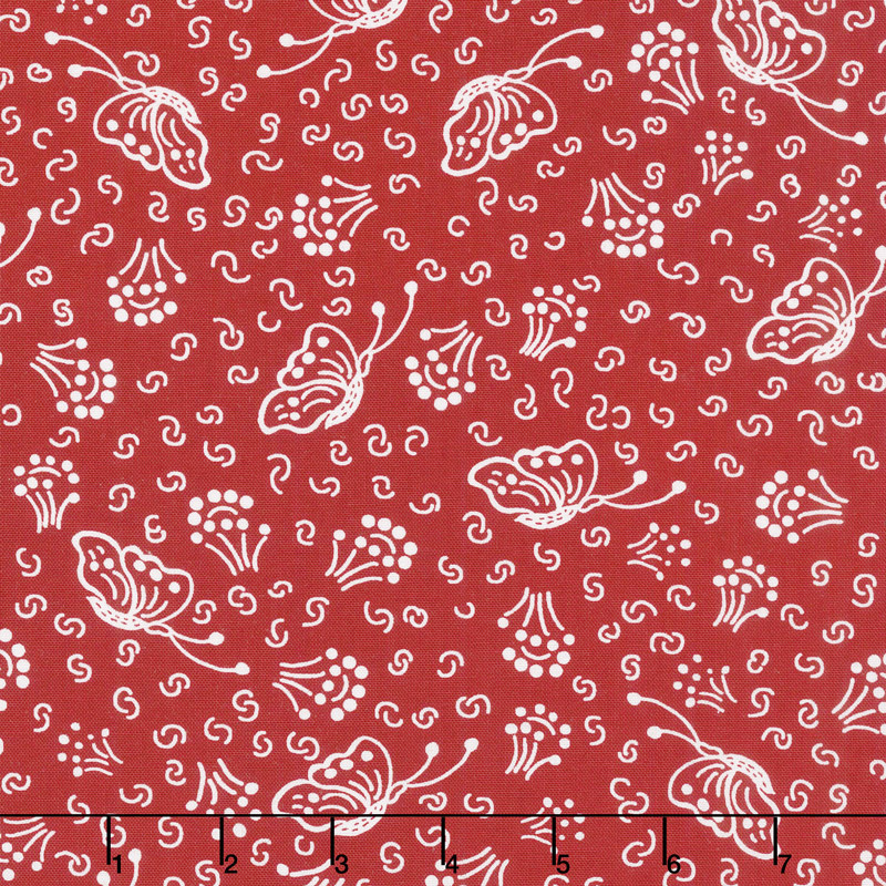 Scarlet Romance - Butterfly White on Red Yardage