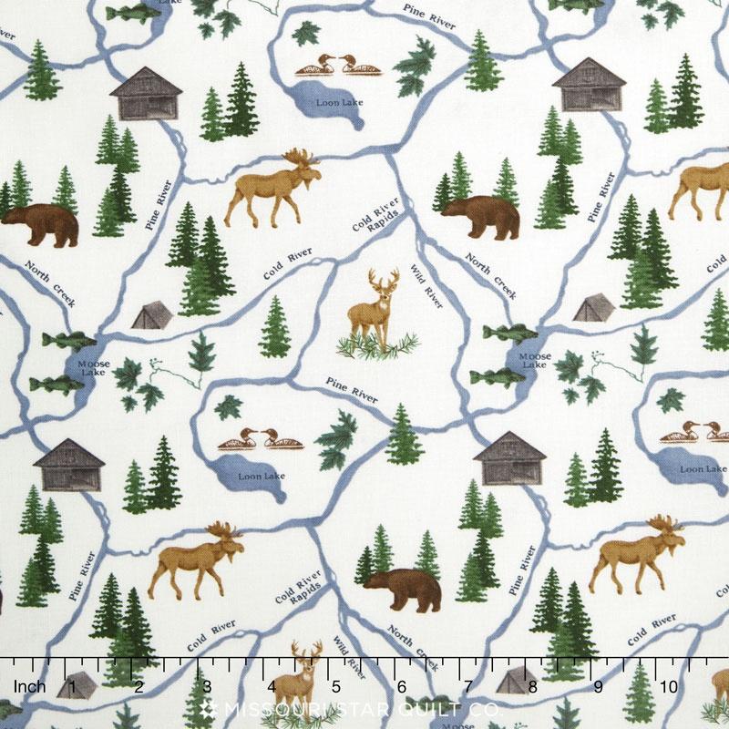 River Journey - Map Cream Yardage