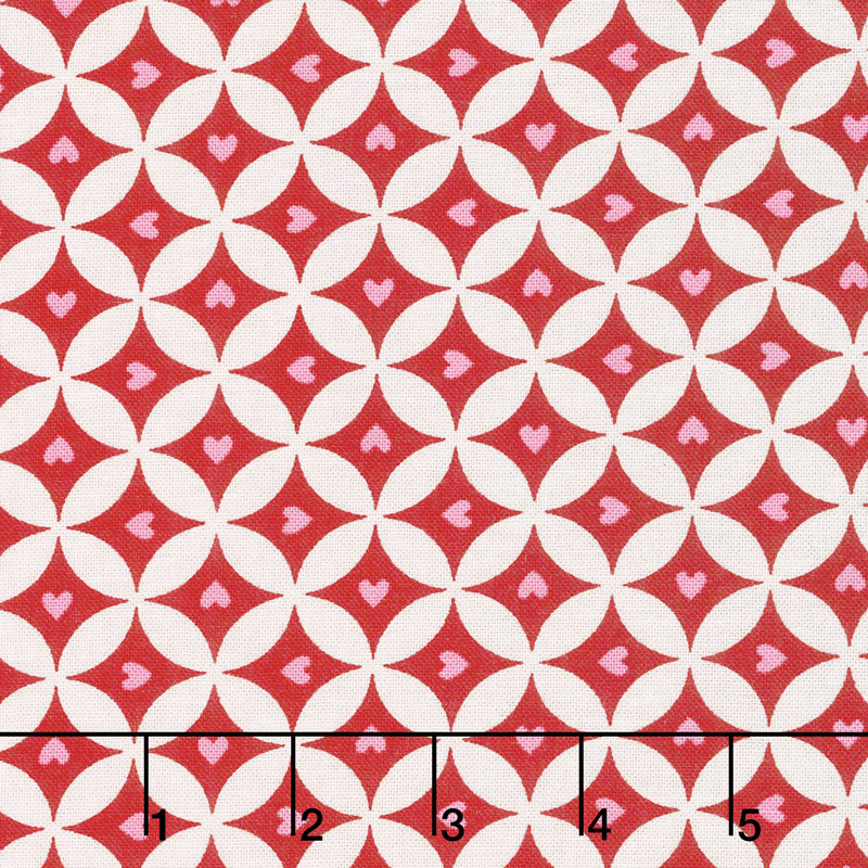 Love Grows - Circles of Love Romantic Red Yardage