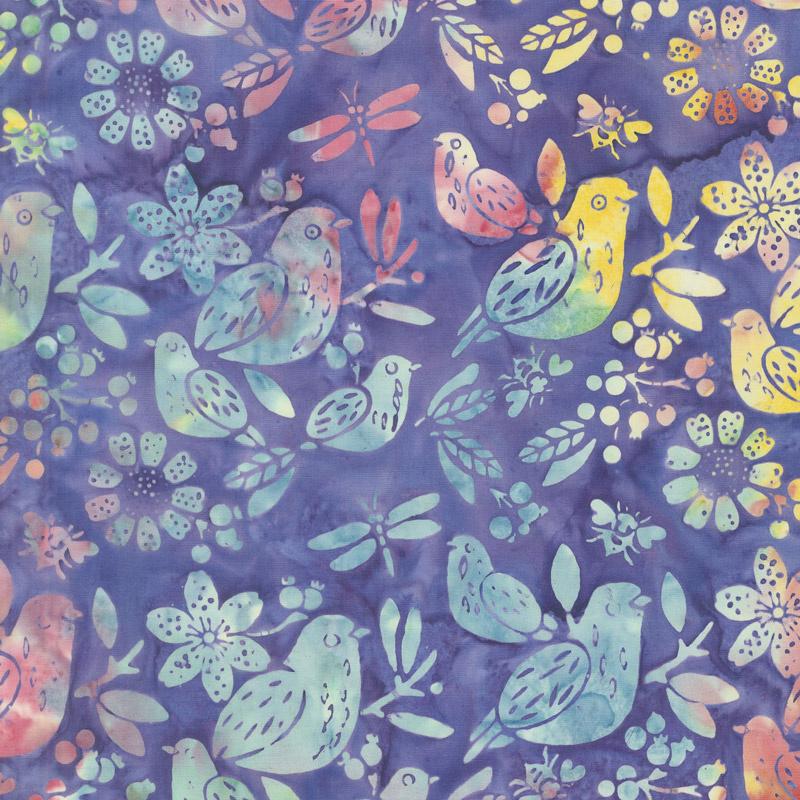 Summer Sizzle Batiks - Mixed Birds Wisteria Yardage