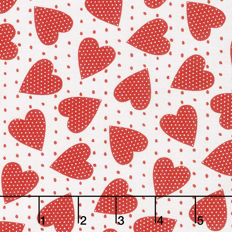 Red-iculously in Love - Heart Felt White Yardage