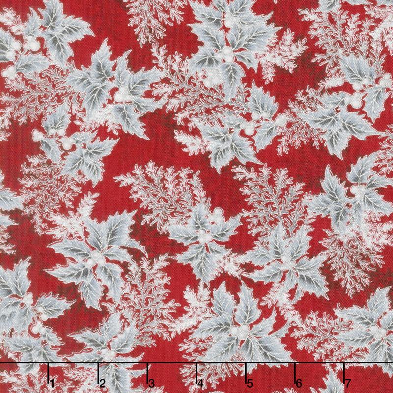 Holiday Flourish 11 - Silver Branches Scarlet Metallic Yardage