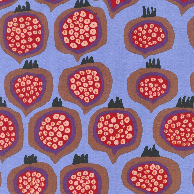 Kaffe Fassett Collective Spring 2018 - Dark Pomegranate Blue Yardage