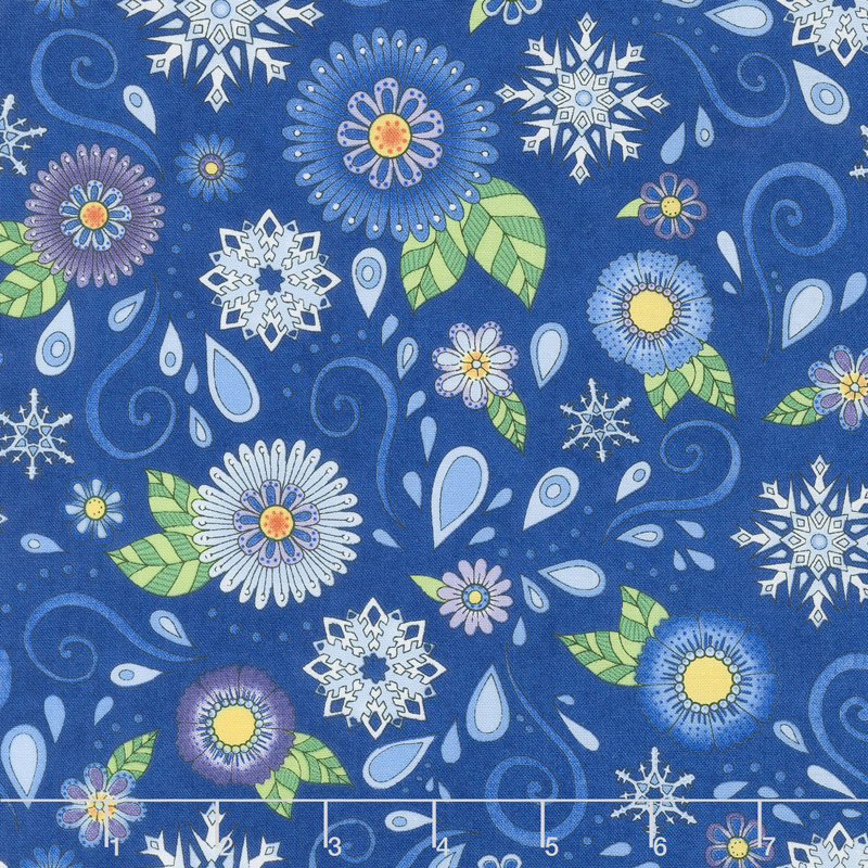 Arctic Wonderland - Blue Tossed Snowflakes & Flowers Yardage