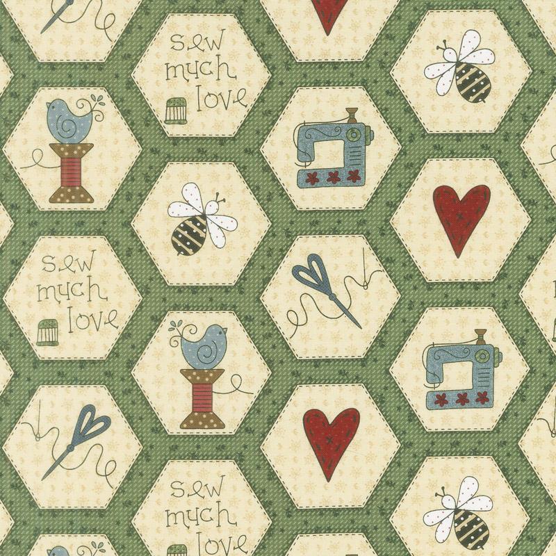 Home Sewn - Hexies Green Yardage