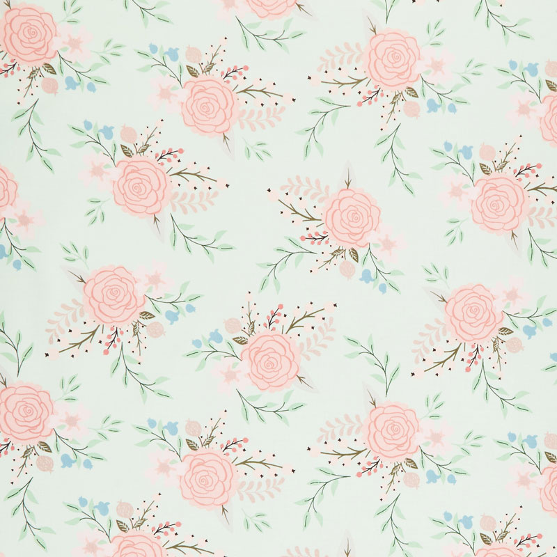 Bliss - Main Mint with Rose Gold Sparkle Yardage