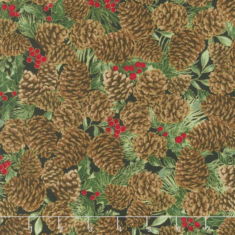 A Joyful Season - Pinecones Metallic Yardage