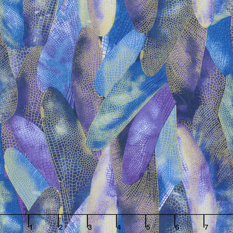 Dragonfly Dance - Blue Gilded Wings Blue Violet Metallic Yardage
