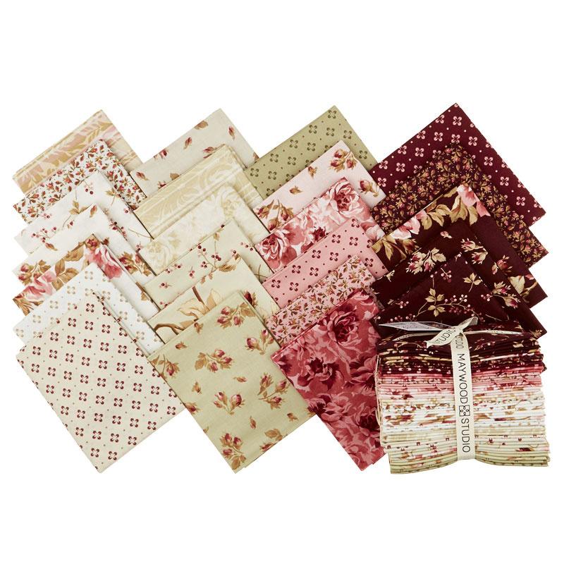 by Maywood Studios factory cut 24-18 X 22 Squares FQ-MASBUB Burgundy /& Blush Fat Quarter Bundle Burgundy Cream Floral Fabric