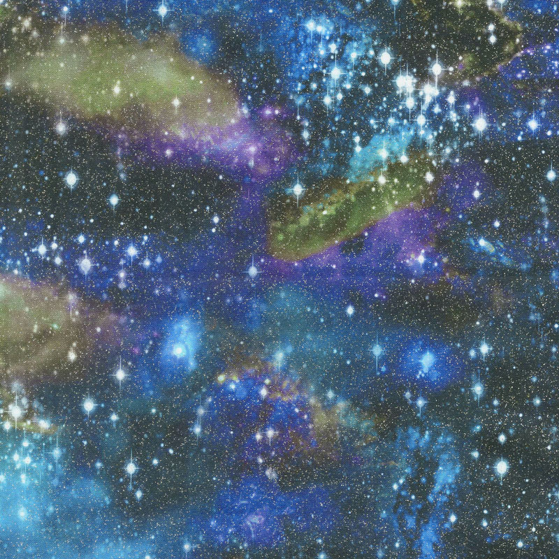 Stargazers - Stars Astral Digitally Printed with Glitter Yardage
