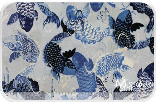 Harmony koi pond blue yardage kanvas studio benartex for Koi pond quilt pattern