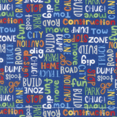 Detour Ahead! - Words Allover Blue Yardage