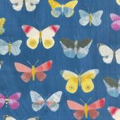 Wonder - Newspaper Butterflies Navy Yardage